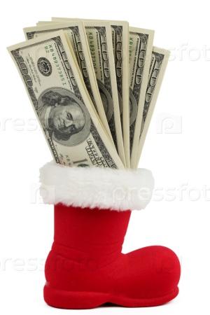 Доларры в Рождественском носке