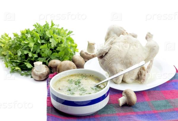 Грибной суп и варенная курица