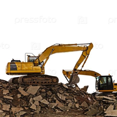 Экскаватор на строительной площадке