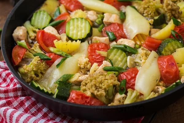 Тушеные овощи с куриным филе