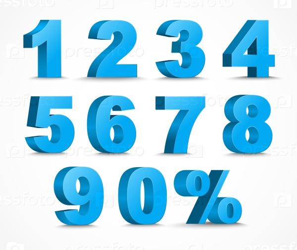 Цифры бирюза в пнг