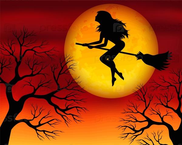 Открытка ведьма красавица на метле