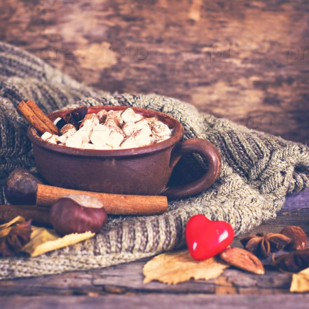 Горячее какао с зефирами со специями