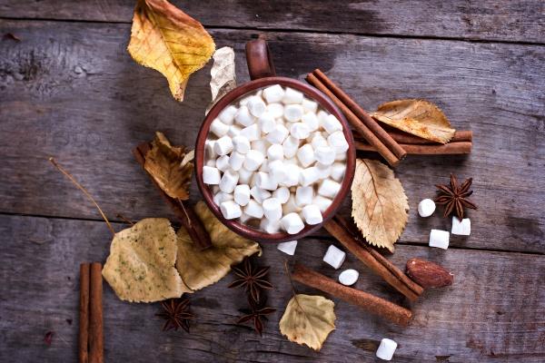 Горячее какао с зефирками со специями