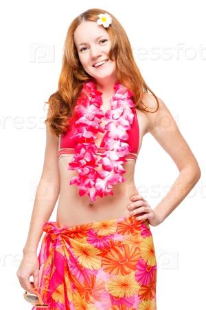 Девушка в бикини и гавайской гирлянде