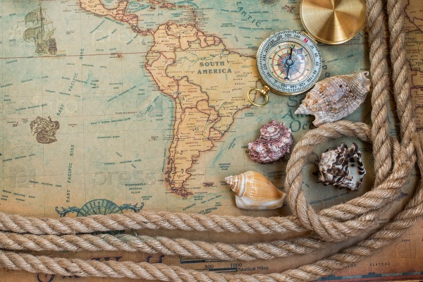 Компас, карта и веревка