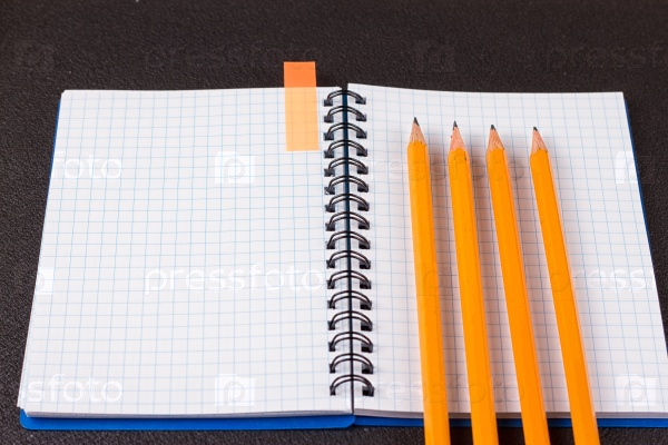 Открытый блокнот и карандаши