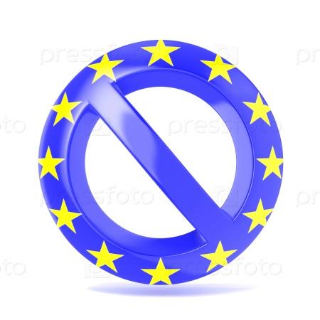 Запретный знак с флагом ЕС