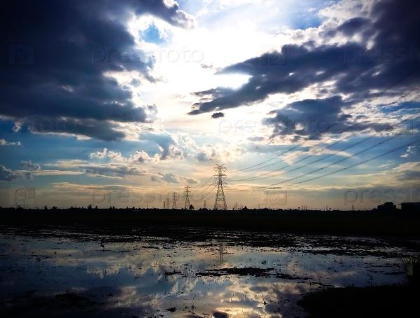 Пейзаж рисовых полей с темными тучами
