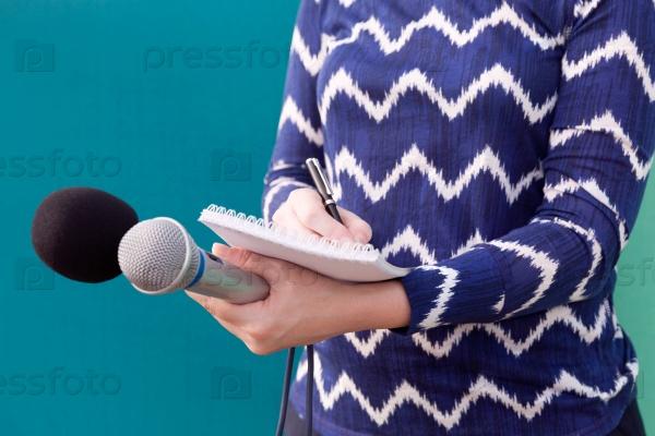 Журналистка на пресс-конференции