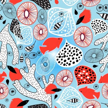 Абстрактный яркий фон с кораллами и рыбами