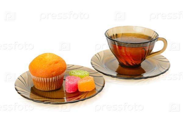 Чашка чая и кекс
