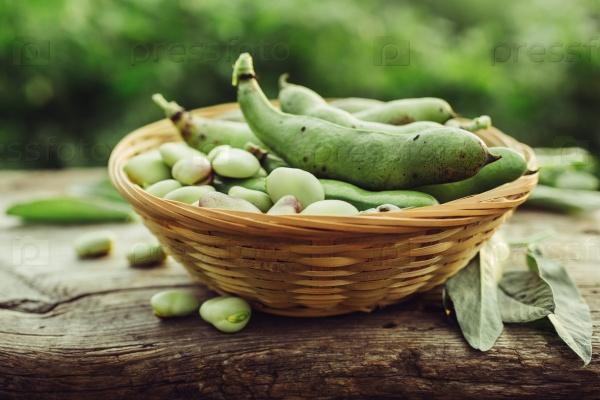 Свежие зеленые бобы