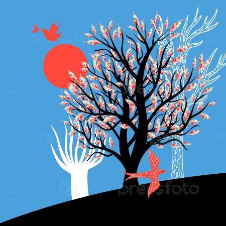 Влюбленные птицы и деревья