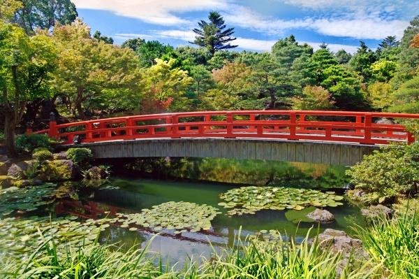 Деревянный мост в осеннем парке