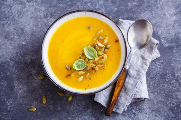 Тыквенный суп с базиликом