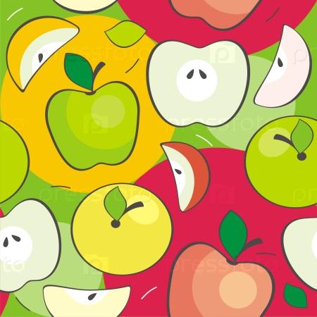 Текстура с разноцветными яблоками