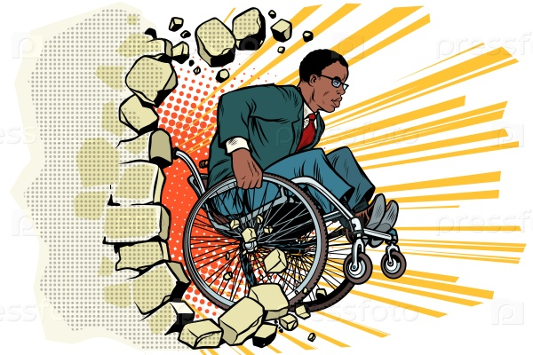 Африканский бизнесмен в инвалидной коляске