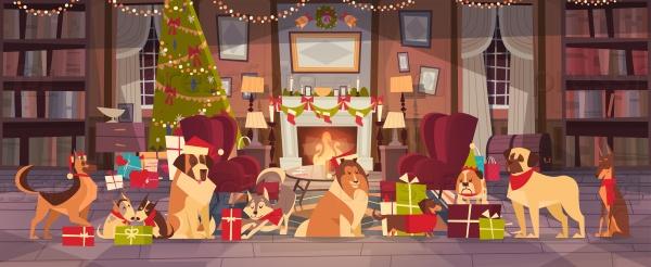 Собаки в гостиной на Рождество