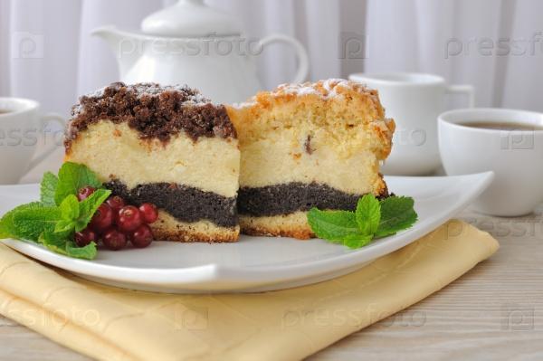 Сырный пирог с начинкой из мака