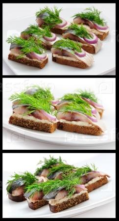 Бутерброды из ржаного хлеба с селедкой, луком и зеленью