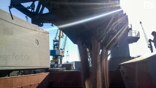 Заполнение зерна в грузовом отсеке судна