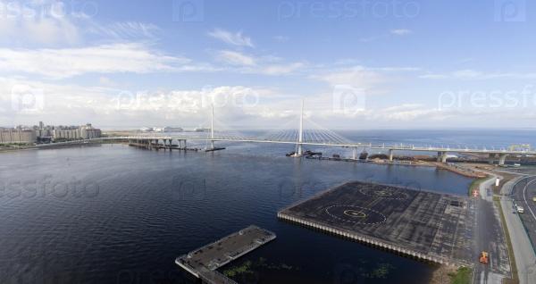 Западный мост. С высоты птичьего полета. Санкт-Петербург