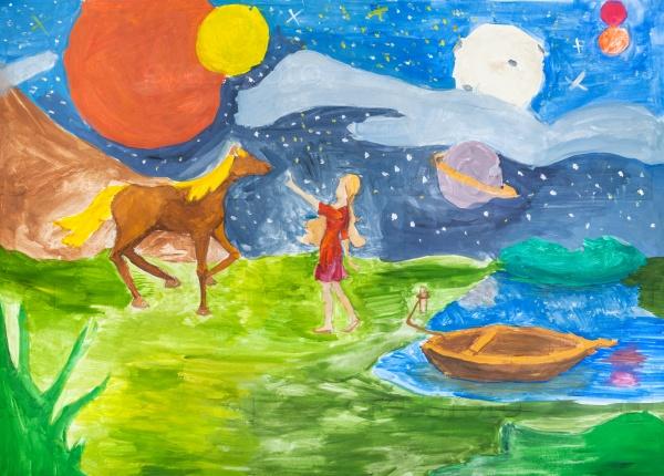 Ночной пейзаж с девушкой на берегу реки