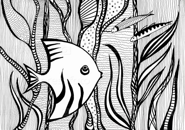 Скалярии между водорослями под водой в море