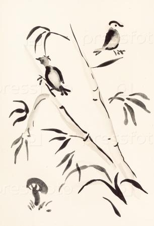Птицы на бамбуке