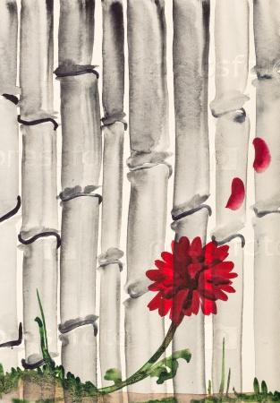 Красный цветок хризантемы и бамбуковая роща