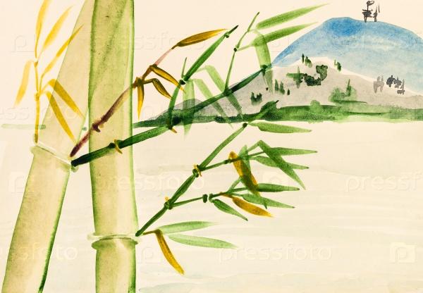 Бамбуковая роща и вид на горы