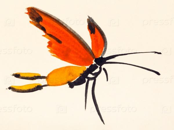 Бабочка с красными крыльями