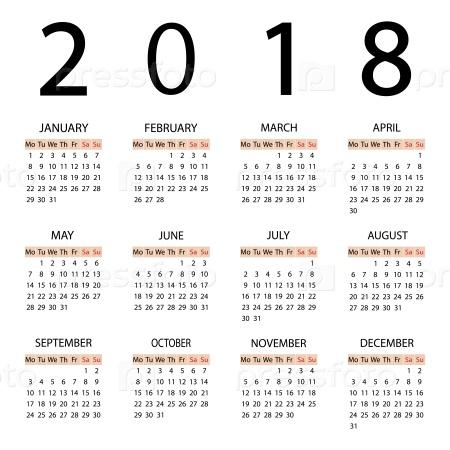 Календарь 2018 года. Неделя начинается с понедельника