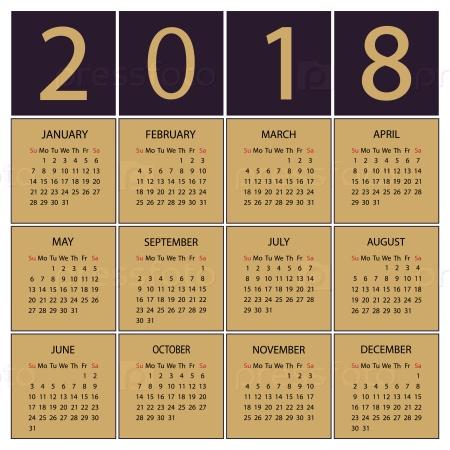 Календарь 2018 года. Неделя начинается с воскресенья