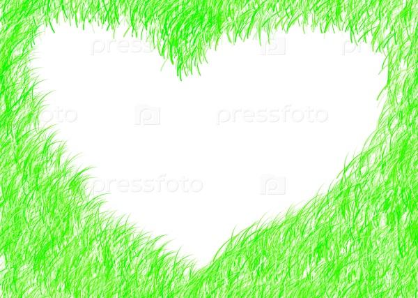Зеленая яркая рамка с сердцем