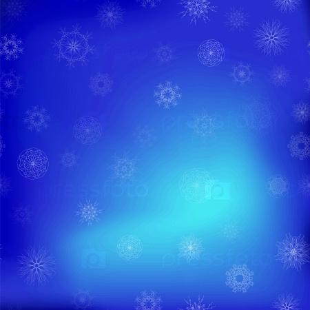 Бесшовные узор снега на фоне голубого неба