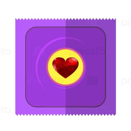 Презерватив с красным сердцем