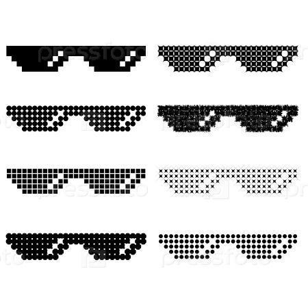 Набор различных пиксельных очков