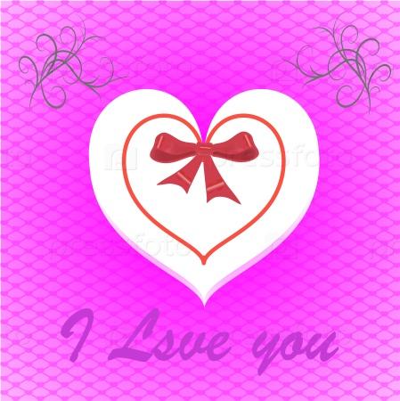 Открытка сердце с бантом на розовом фоне