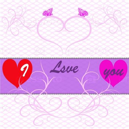 Открытка с признанием в любви с сердечками