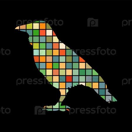 Ворон птица мозаика