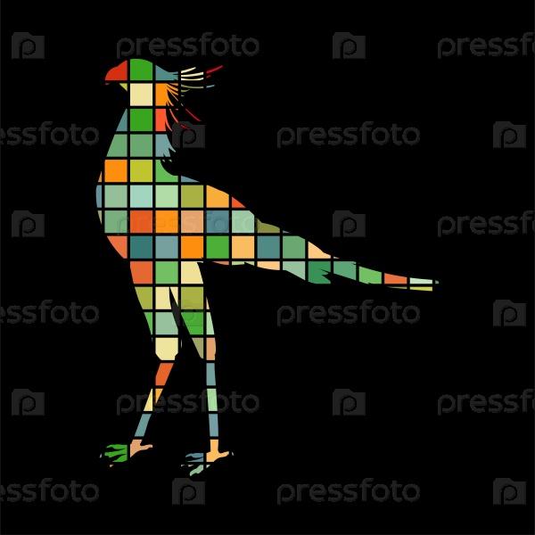 Секретарь птица мозаика
