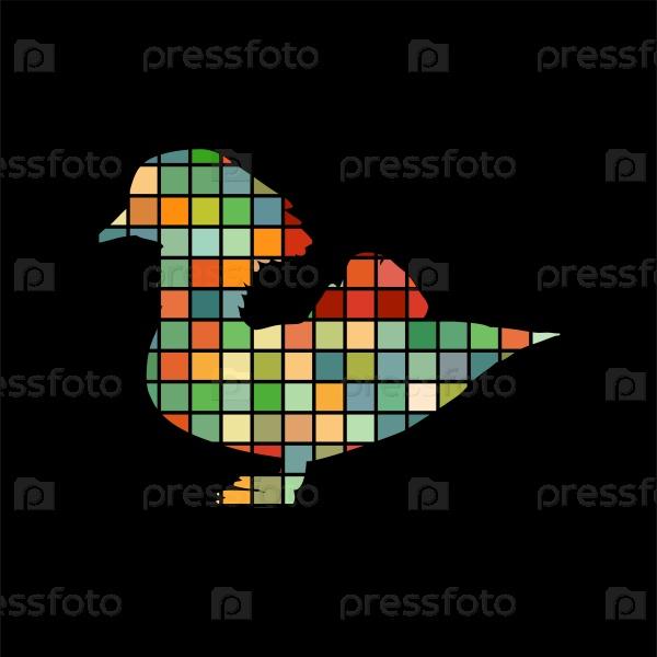 Мандаринка птица мозаика