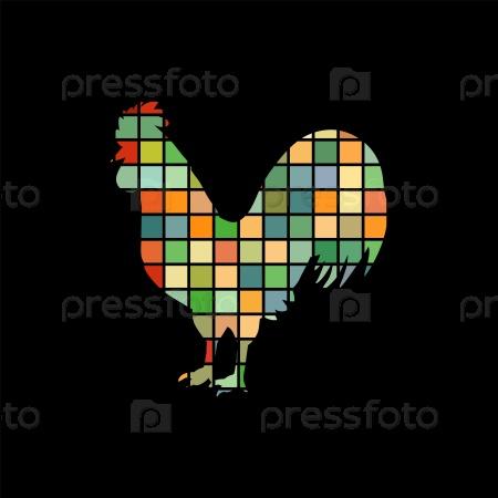 Петух птица мозаика
