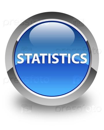 Статистика глянцевая синяя круглая кнопка