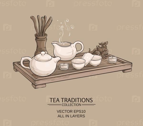 Чайный стол с чайником и чайными инструментами