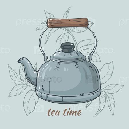 Иллюстрация с синим чайником на цветном фоне