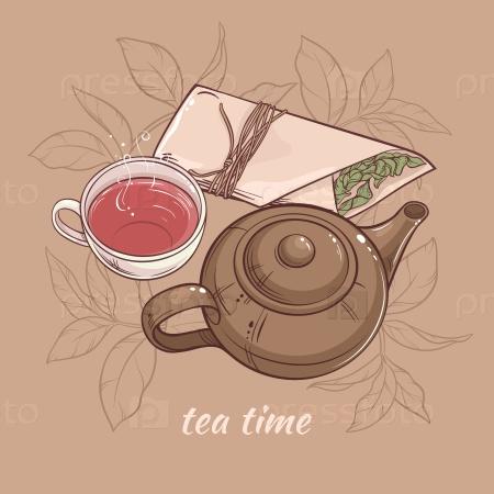 Иллюстрация с чашкой чая, с чайником и сухим чаем на коричневом фоне