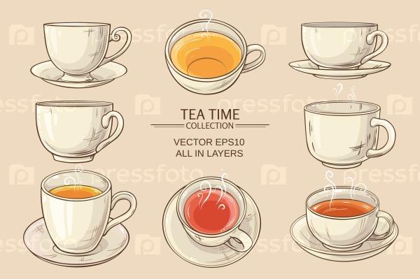 Чайные чашки набор на белом фоне